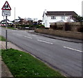 SS8178 : Warning sign School/Ysgol, West Road, Nottage by Jaggery