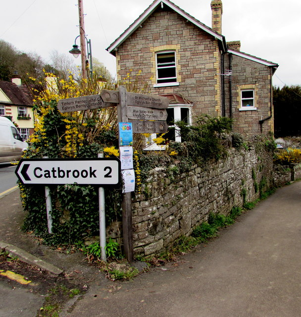 Wooden signpost on a Tintern corner, 2 miles from Catbrook