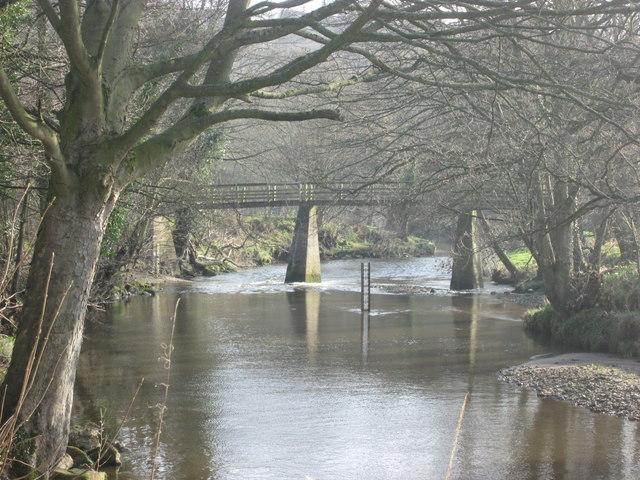 Footbridge over the River Esk near Grosmont