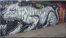 TQ3382 : Tiger Graffiti on Corner of Shoreditch High Street by Christine Matthews