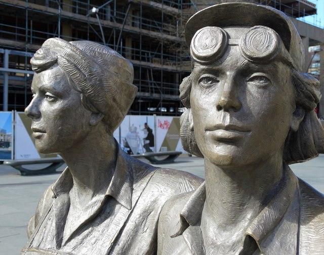 Detail of the Women of Steel statue, Sheffield