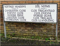 SS8178 : Large bilingual street name sign, Nottage, Porthcawl by Jaggery