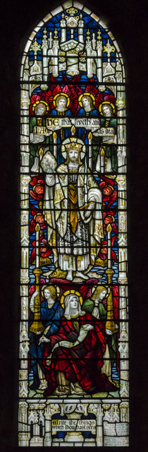Stained glass window, St Oswald's church, Filey
