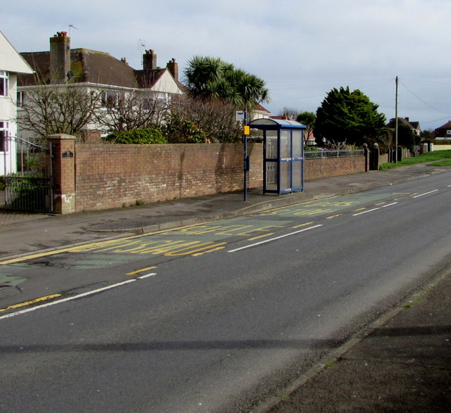 West Road bus stop and shelter near Long Acre Drive, Nottage, Porthcawl
