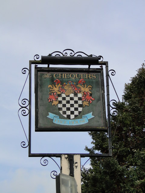 The hanging sign of the 'Chequers' public house