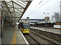 SJ7687 : Altrincham station, platform 1 by Stephen Craven
