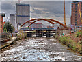 SJ8398 : River Irwell, Looking towards the Ordsall Chord Bridge by David Dixon