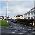 SS8077 : Tall rusty pole on a Porthcawl corner by Jaggery