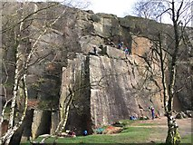 SK2479 : Rock climbing in Bole Hill Quarry by Graham Hogg