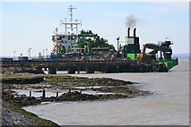 TQ7076 : Dredger offloading sand at Cliffe by David Martin