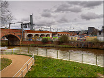 SJ8297 : River Irwell and Railway Viaduct by David Dixon