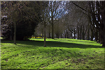 SP4974 : Park from Kingsway mini-roundabout by Robert Eva