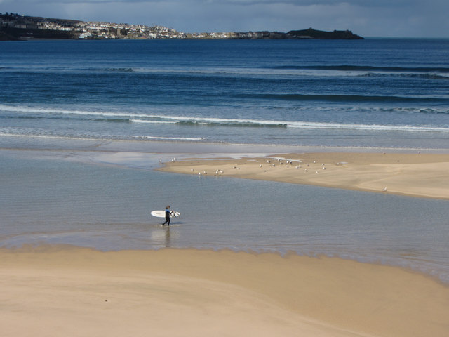 Surfer at Hayle Towans