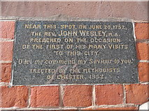 SJ4066 : Plaque at Wesley Methodist Church, Chester by David Hillas