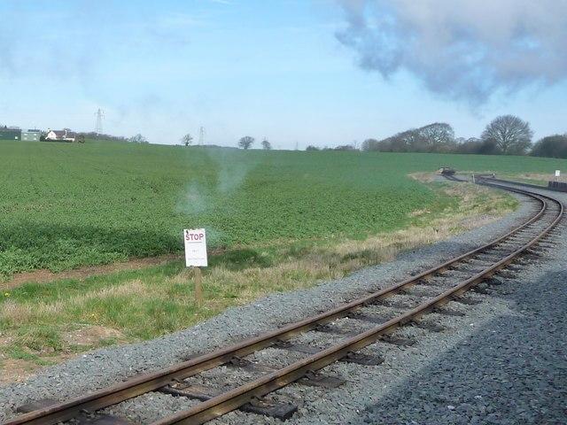 Stop sign, Balloon Loop, Statfold Barn Railway