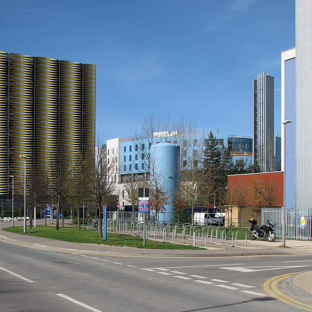 Coloured buildings on the Cambridge Biomedical Campus