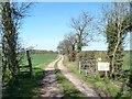 SK2206 : Public footpath to Syerscote Lane, at Syerscote Barn by Christine Johnstone