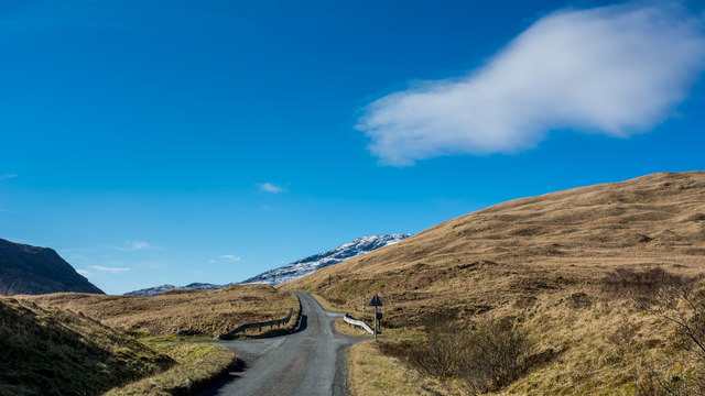 Looking up the A849 in Glen More