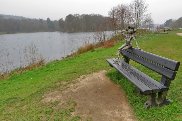 Fairy posing on a bench by Trentham Lake