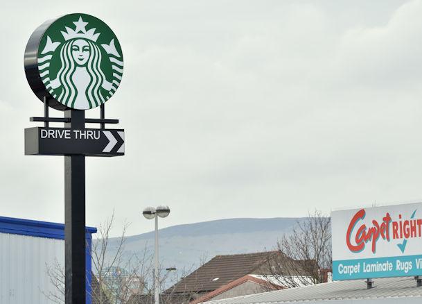 """Starbucks"" sign, Connswater, Belfast (March 2017)"