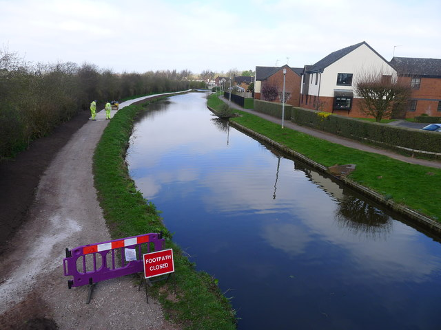 Laying a new towpath surface on the Trent and Mersey Canal