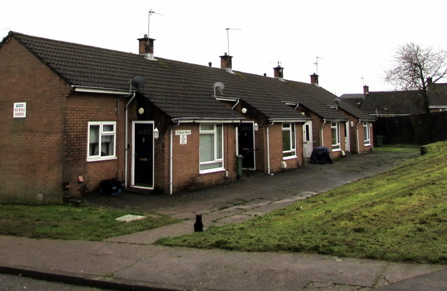 Row of four houses, Heol y Pwca, West Pontnewydd, Cwmbran