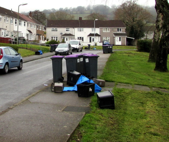 Wheelie bins and recycling boxes in  West Pontnewydd, Cwmbran