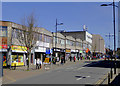 SO9198 : Shopping parade in Cleveland Street, Wolverhampton by Roger  Kidd