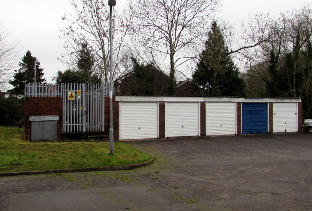 Lockup garages and an electricity substation, West Pontnewydd, Cwmbran