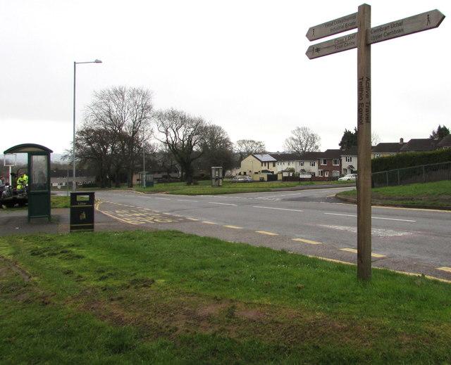 Wooden signpost near Maendy Square, Cwmbran