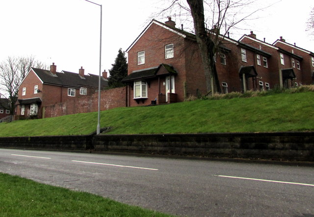 Brick houses and wall above Maendy Way, Cwmbran