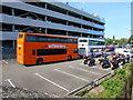 SU4416 : Orange double-decker bus near Southampton Airport (Parkway) railway station by Jaggery