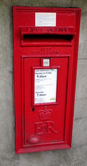 Queen Elizabeth II postbox in a Berrow Road wall, Burnham-on-Sea