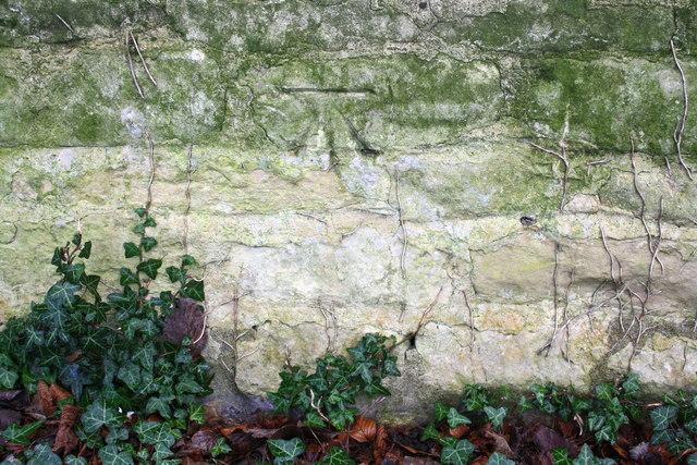 Benchmark on Ryhall Road wall