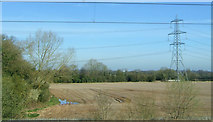 SK1409 : Pylon in field, Huddlesford Bridge by JThomas