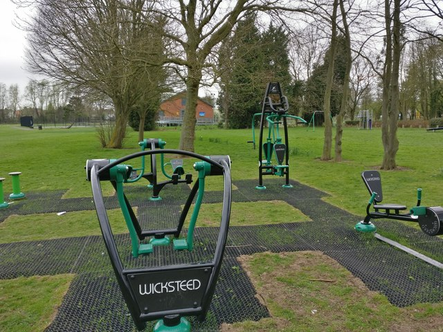 Outdoor gym equipment on the Aylestone Playing Fields