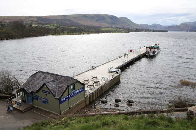 An Ullswater steamer docks at the Pooley Bridge pier
