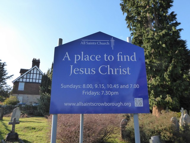 All Saints, Crowborough: sign