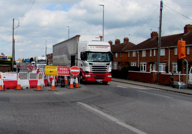 Diversion - road closed - at a major junction in Bridgwater