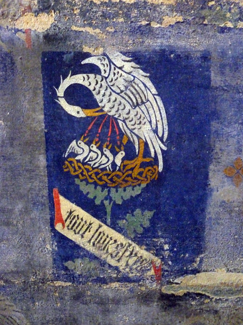 Mural detail: the pelican feeds its young with its own blood