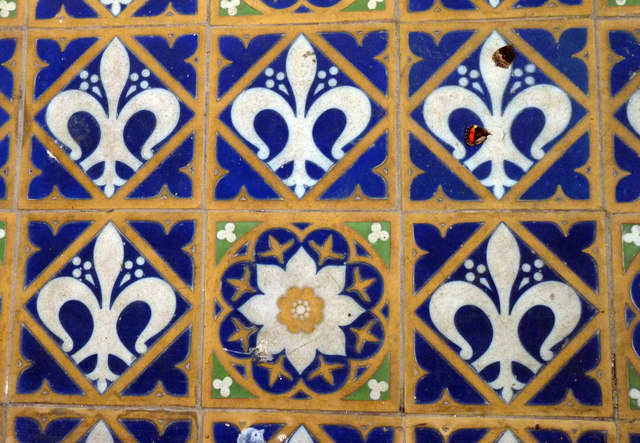 Decorative tiling in the chancel at St Andrew's church