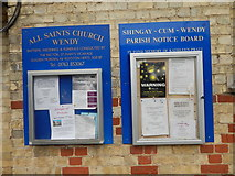TL3247 : All Saints Church, Wendy notices by Hamish Griffin