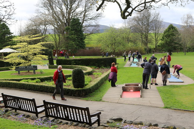Crazy golf in a vernal park by Keswick