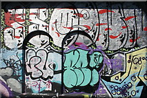 TQ3382 : View of street art on the old Shoreditch tube station building from Pedley Street #4 by Robert Lamb