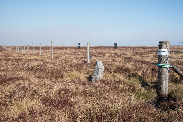 Fence crossing moorland replacing a wall along Nookton Edge