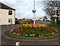 ST3036 : Colourful roundabout near Bridgwater railway station by Jaggery