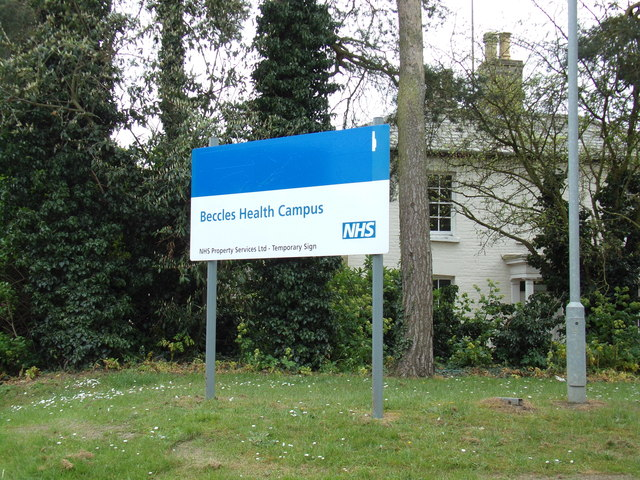 Beccles Health Campus (Beccles Hospital) sign