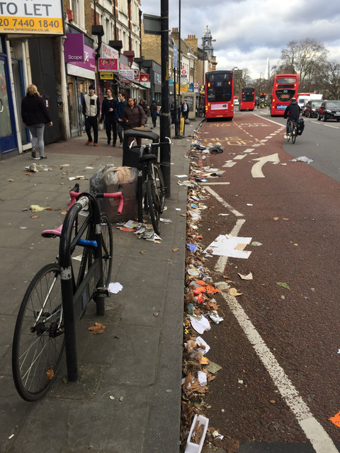 """""""Hey Doris! You've dropped some litter"""" – west side of Denmark Hill, Camberwell, London"""