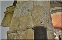 SY5697 : Toller Porcorum, Ss. Andrew and Peter Church: Carving above the Purbeck marble shaft on the chancel arch by Michael Garlick