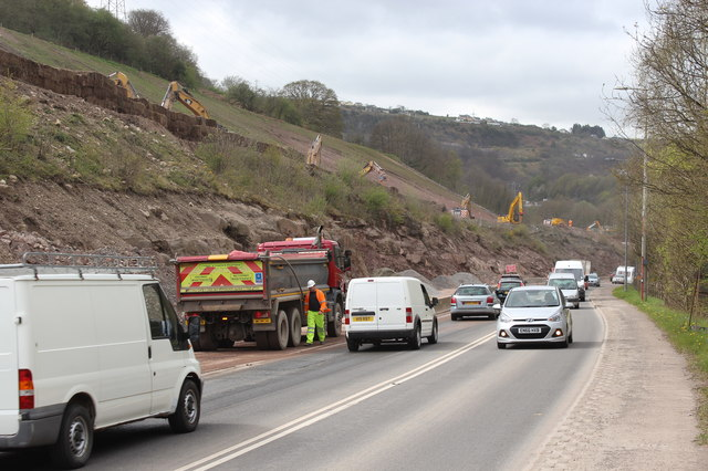 Construction of new carriageway for A465, near Gilwern